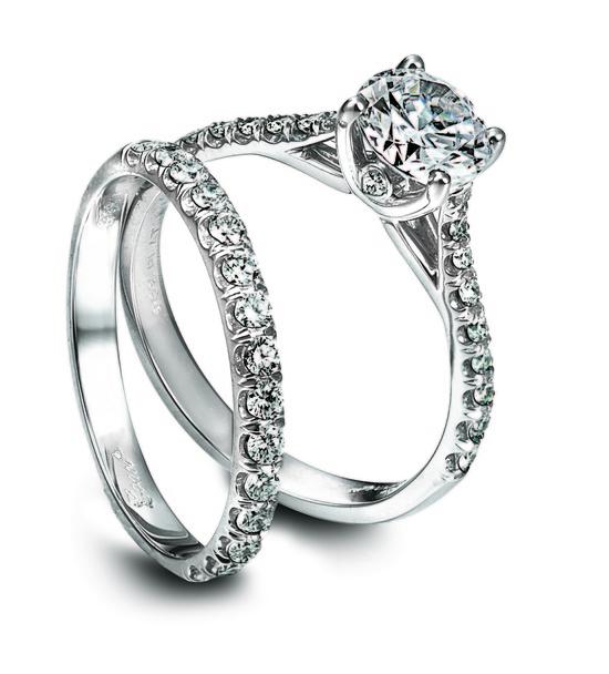 photo of Ring Set: Coast Diamond, Center and Channel Set Diamonds, Platinum