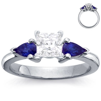 Engagement Ring: 2 Pear-Shaped Sapphires, Platinum