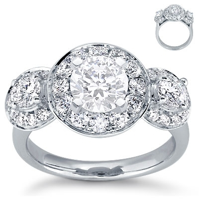 Engagement Ring: Halo Heirloom, Pave Diamonds, Platinum