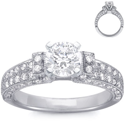 Engagement Ring: 4 Round Diamonds, Flared Arch, Platinum