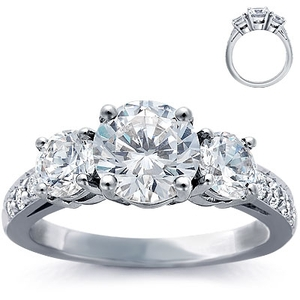 photo of Engagement Ring: Three-Stone, Pave Diamonds, Platinum