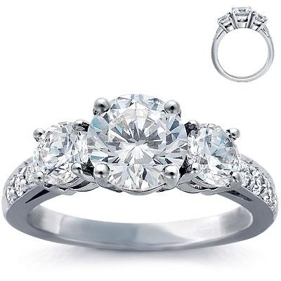photo of Engagement Ring: Three-Stone, Pave Diamonds, Platinum