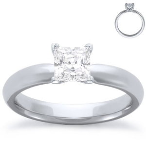 photo of Engagement Ring: Solitaire, Comfort Fit, White Gold