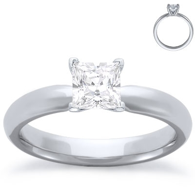 Engagement Ring: Solitaire, Comfort Fit, White Gold