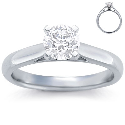 Engagement Ring: Solitaire, Tapered Cathederal, Platinum