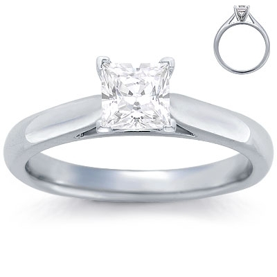 Engagement Ring: Solitaire, Tapered Cathedral, White Gold