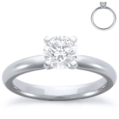 Engagement Ring: Solitaire, Comfort Fit, Platinum