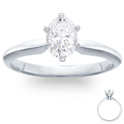 Engagement Ring:  6-Prong Solitaire, White Gold