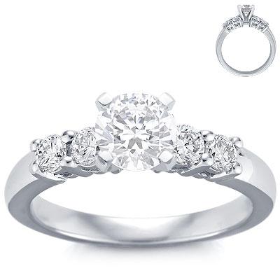 engagement ring 4 diamonds white gold