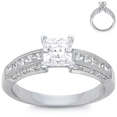 Engagement Ring: 20 Pave, 10 Princess Diamonds, Platinum