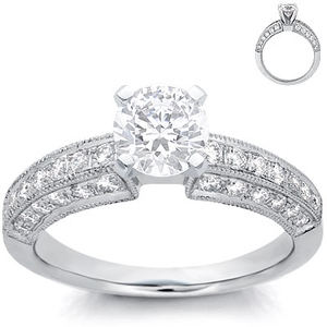photo of Engagement Ring: Pave Diamonds, Milgrain, Platinum