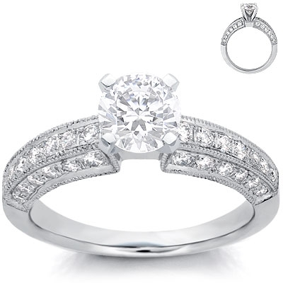 Engagement Ring: Pave Diamonds, Milgrain, Platinum