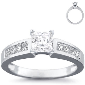 photo of Engagement Ring: 8 Princess Diamonds, White Gold