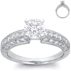 photo of Engagement Ring: Pave Diamonds, 3-Sided, White Gold