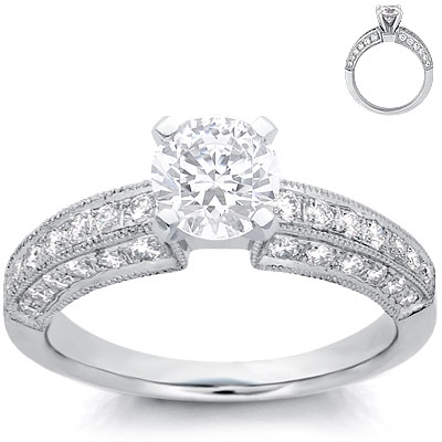 Engagement Ring: Pave Diamonds, 3-Sided, White Gold