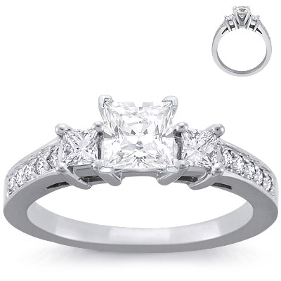 Engagement Ring: 10 Pave, 2 Princess Diamonds, White Gold