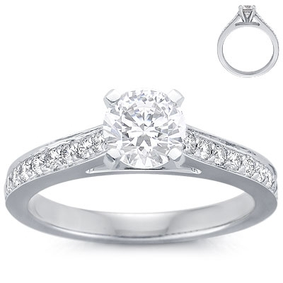 Engagement Ring: Pave, Cathedral,  White Gold
