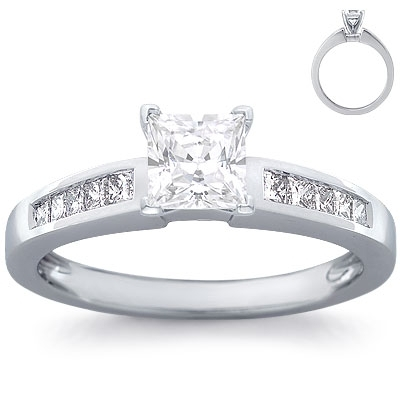 Engagement Ring: 10 Princess Diamonds, White Gold
