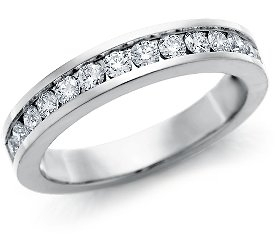 Wedding Ring: 14 Diamonds, Channel-Set, White Gold