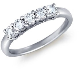 photo of Wedding Ring: 5 Round Diamonds, White Gold