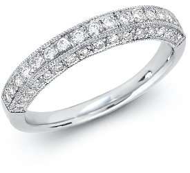 Wedding Ring: Pave Diamonds, 3-Sided, White Gold