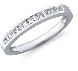 photo of Wedding Ring: 15 Princess Diamonds,  White Gold