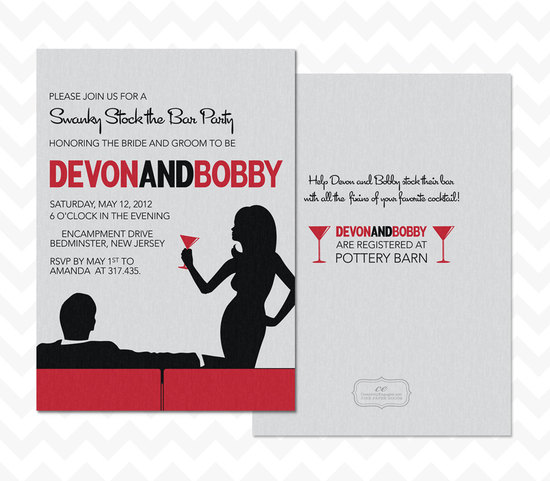 stock the bar couples wedding shower red white black invitations