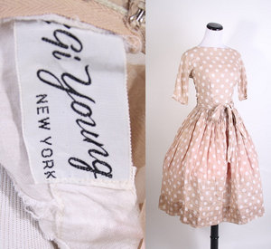 photo of 1960's polka dot bridesmaid dress