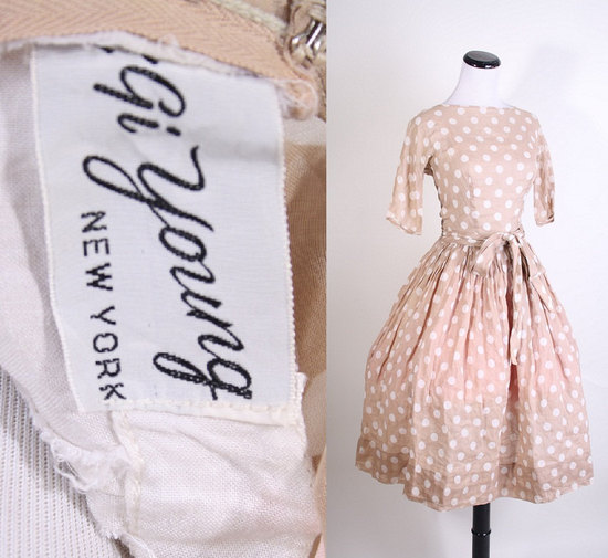 vintage style bridesmaid dress polka dots mad men