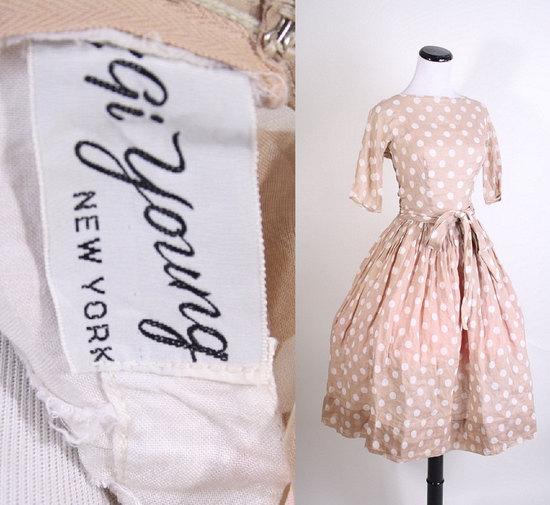 photo of 1960's polka dot bridesmaid dress