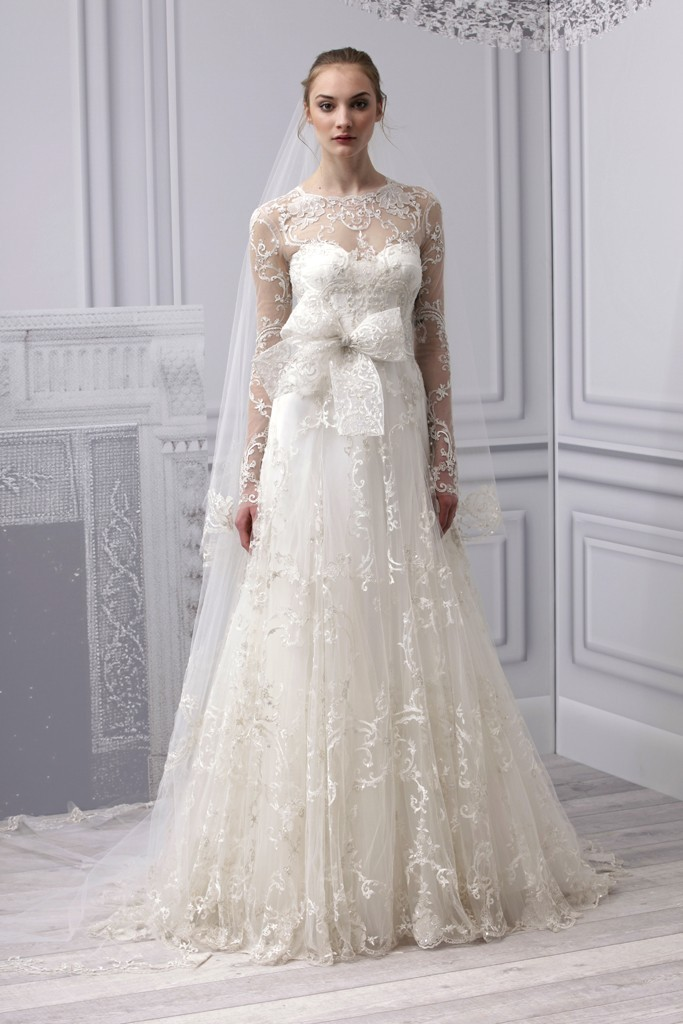 marchesa wedding dress spring 2013 lace sleeves kate middleton inspired
