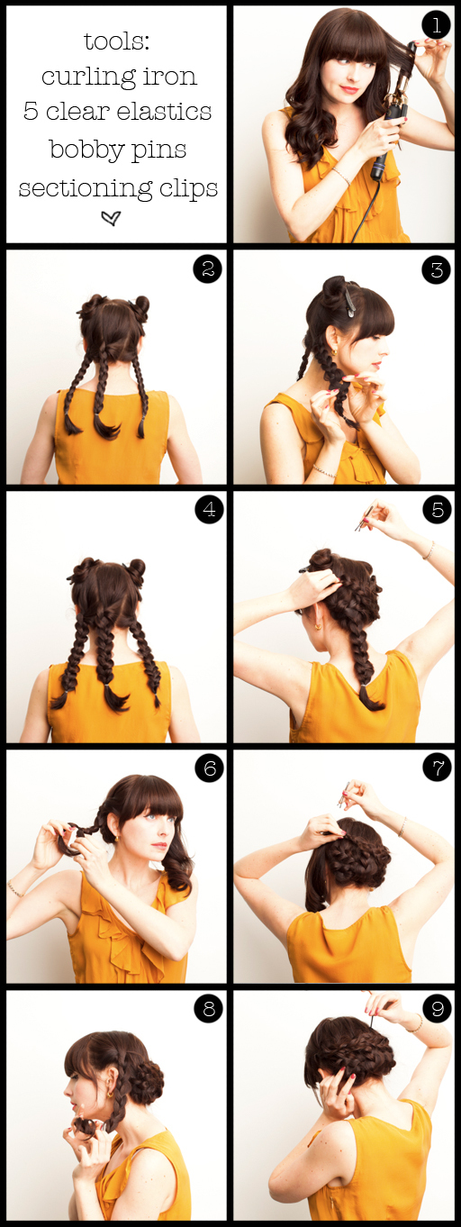 photo of twisted updo wedding hair DIY with bangs