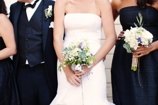 rustic elegant real wedding outdoor wedding ceremony bride with bridesmaids bouquets