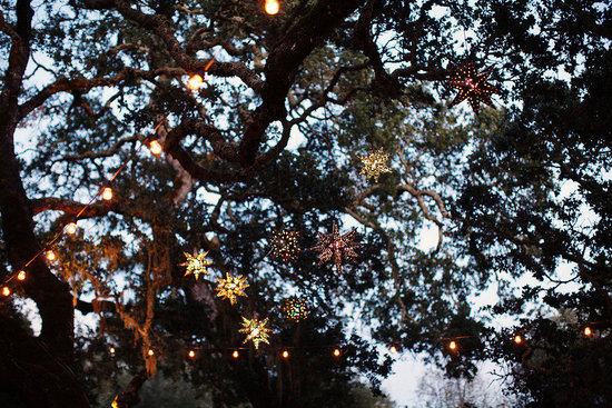 rustic elegant real wedding outdoor wedding ceremony hanging lights at reception