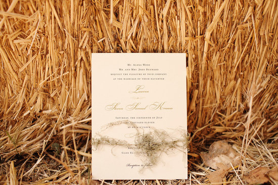 rustic elegant real wedding outdoor wedding ceremony ivory wedding invitations
