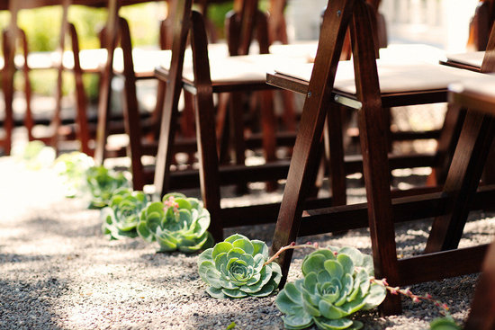 rustic elegant real wedding outdoor wedding ceremony succulent aisle runner