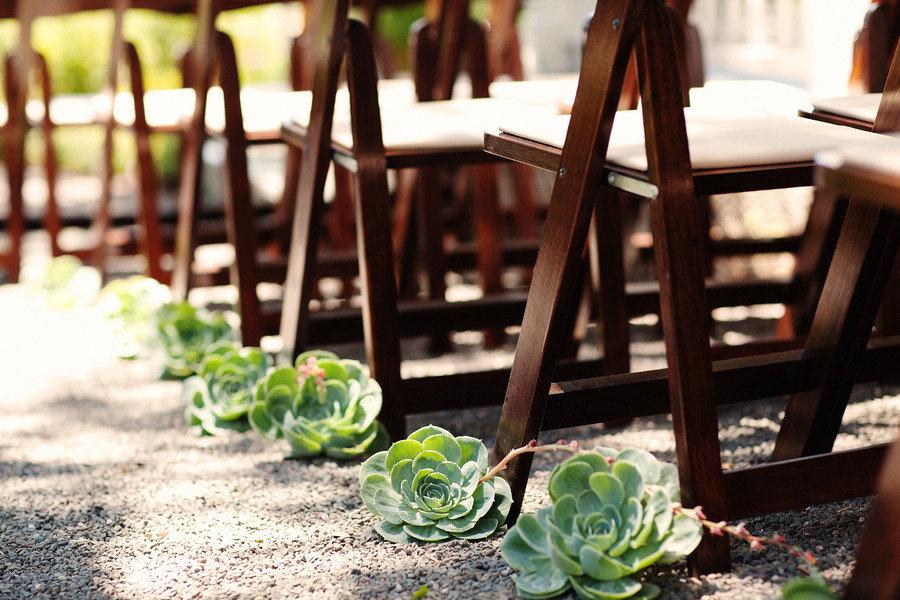 Rustic Elegant Backyard Wedding : rustic elegant real wedding outdoor wedding ceremony succulent aisle