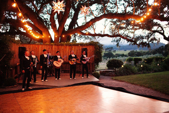 rustic elegant real wedding outdoor wedding ceremony reception dance floor mariachis
