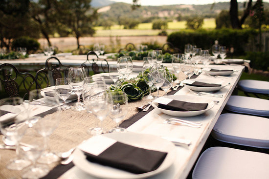 rustic elegant real wedding outdoor wedding ceremony reception tablescape