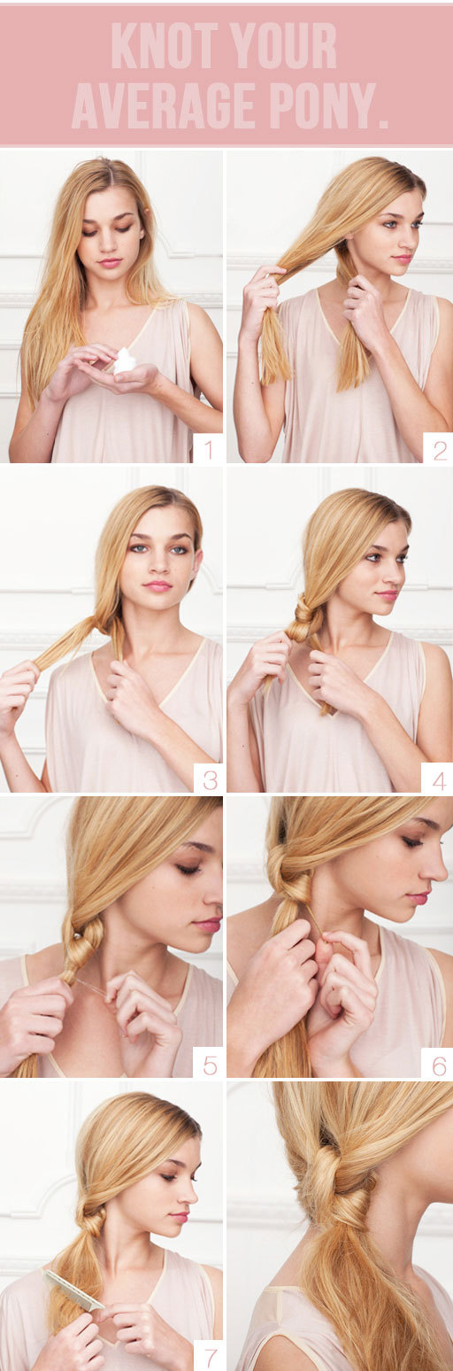 photo of bridal beauty wedding hair tutorials romantic knotted pony