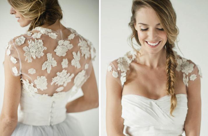 Floral Lace Applique Wedding Bolero Sheer Illusion Fabric