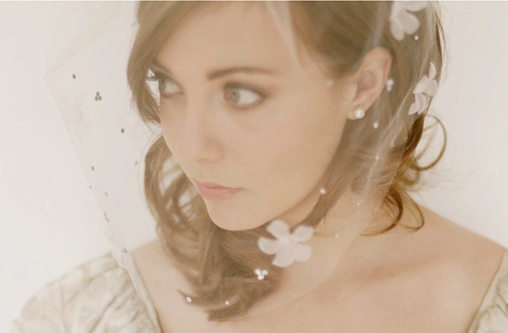 soft romantic bridal veil flower adorned