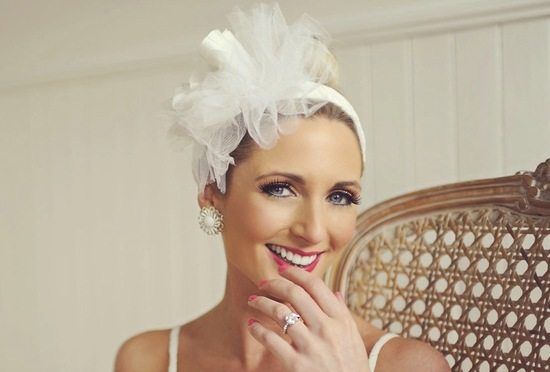 photo of Poppy-adorned bridal headband