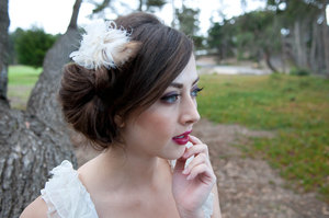 photo of Ivory and beige feather fascinator