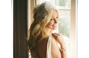 photo of Retro feather bridal cap