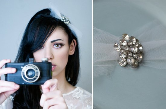 photo of Vintage tulle bridal bow headband