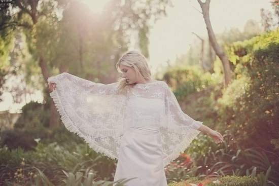 lace bridal cape pleated hem bohemian vintage bride