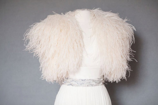 wedding accessories ostrich feather bridal shrug