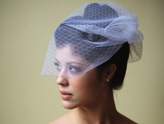 birdcage veil white net with a hint of blue