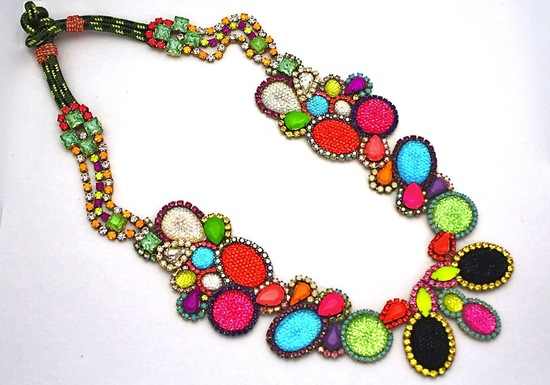 bright statement wedding necklace rainbow wedding colors